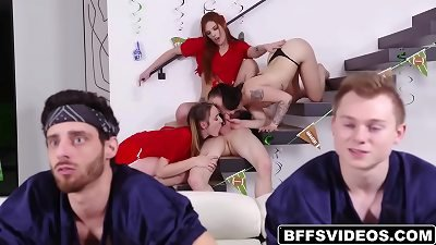Rion King plowed Everly Haze, Mia Moore and Scarlet Mae's cunts behind the sofa