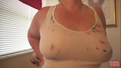 Horny Blonde 50 year old MILF with Huge Ass does Wet T shirt Striptease