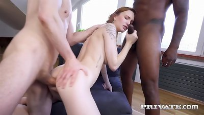 Private.com Red Belle Claire DP´d By 1 White & 1 Black Cock!