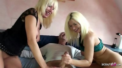 German Mature Double Blow Huge Cock and Fuck Him after First Cum alone
