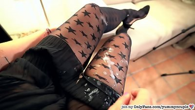 Clothed-Female-Nude-Male hand-job ample cum shot wonderful educator tights High heels YummyCouple.com